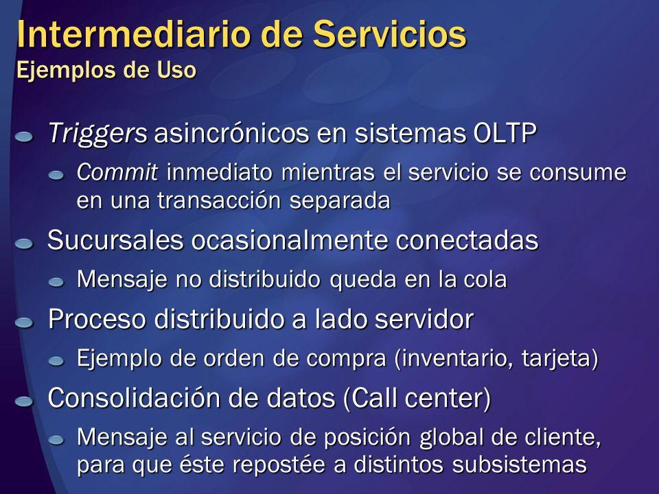 Intermediario de Servicios Ejemplos de Uso Triggers asincrónicos en sistemas OLTP Commit inmediato mientras el servicio se consume en una transacción