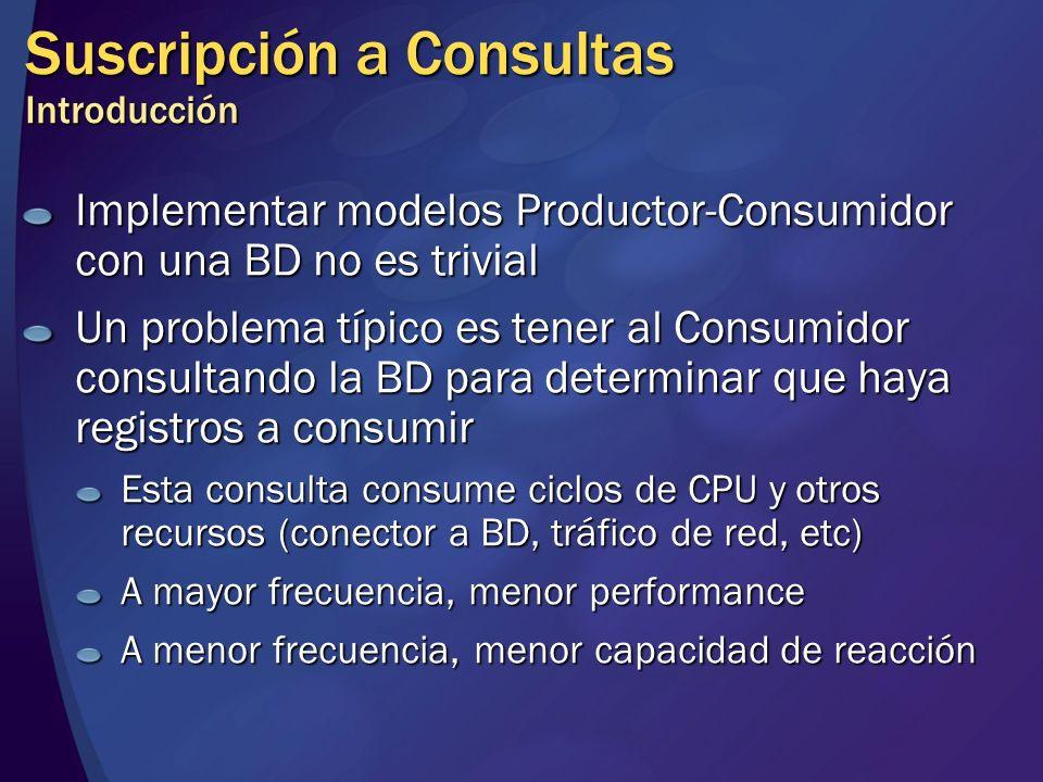 Suscripción a Consultas Introducción Implementar modelos Productor-Consumidor con una BD no es trivial Un problema típico es tener al Consumidor consu