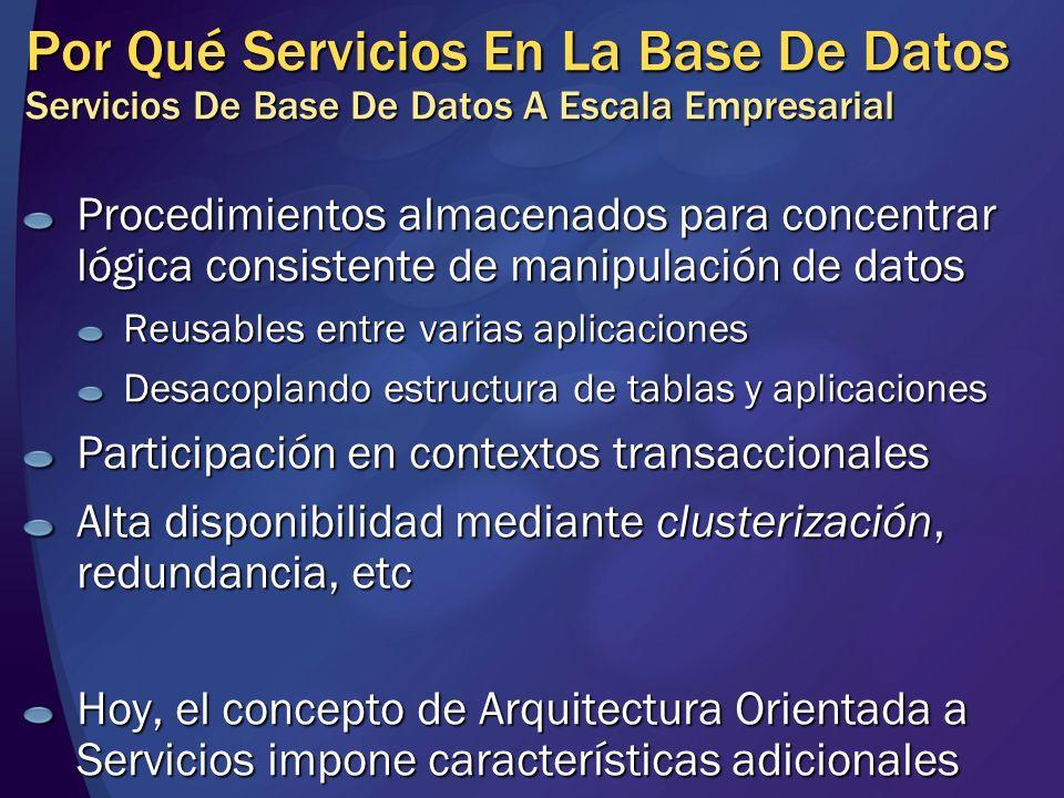 Por Qué Servicios En La Base De Datos Arquitectura Orientada a Servicios (SOA) Bajo acoplamiento: el contrato es lo único que comparten consumidor y proveedor de servicio El servicio detrás del contrato puede ser escalado, evolucionado (reimplementado) independientemente de los consumidores Los contratos definen mensajes de entrada y salida (la lingua franca hoy es XML) Dentro de las fronteras donde el servicio vive, los datos pueden estar estructurados diferentemente
