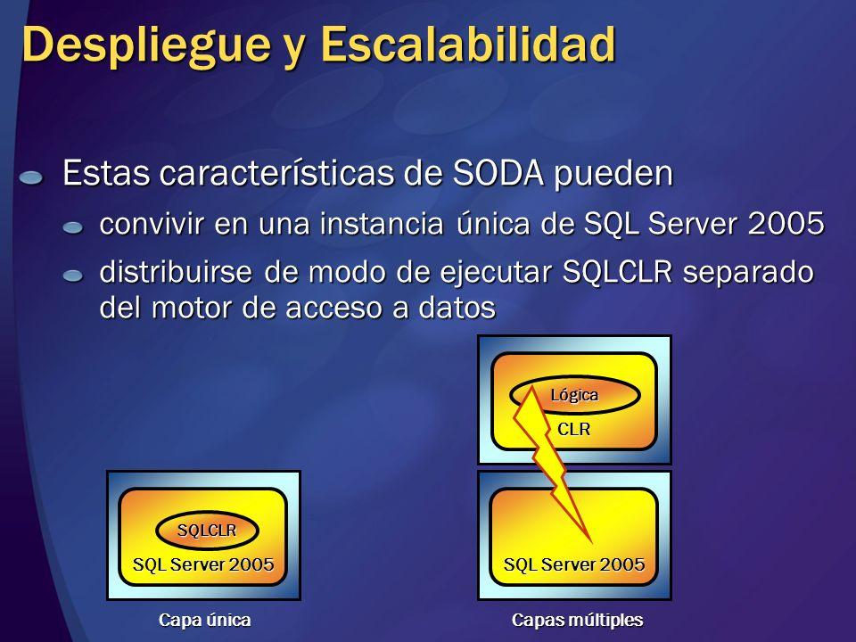 Estas características de SODA pueden convivir en una instancia única de SQL Server 2005 distribuirse de modo de ejecutar SQLCLR separado del motor de