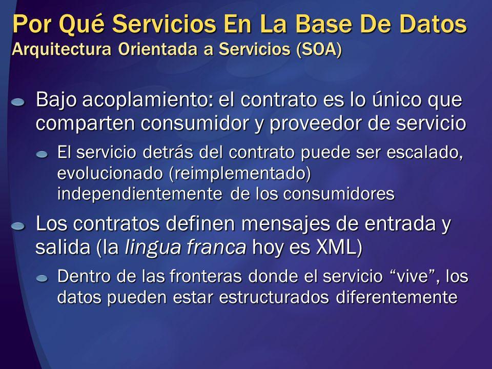Por Qué Servicios En La Base De Datos Arquitectura Orientada a Servicios (SOA) Bajo acoplamiento: el contrato es lo único que comparten consumidor y p