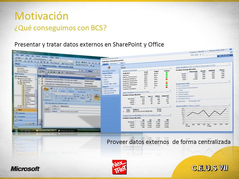 Motivación ¿Qué conseguimos con BCS? Presentar y tratar datos externos en SharePoint y Office Proveer datos externos de forma centralizada