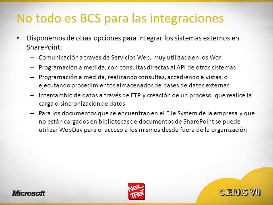 No todo es BCS para las integraciones Disponemos de otras opciones para integrar los sistemas externos en SharePoint: – Comunicación a través de Servi
