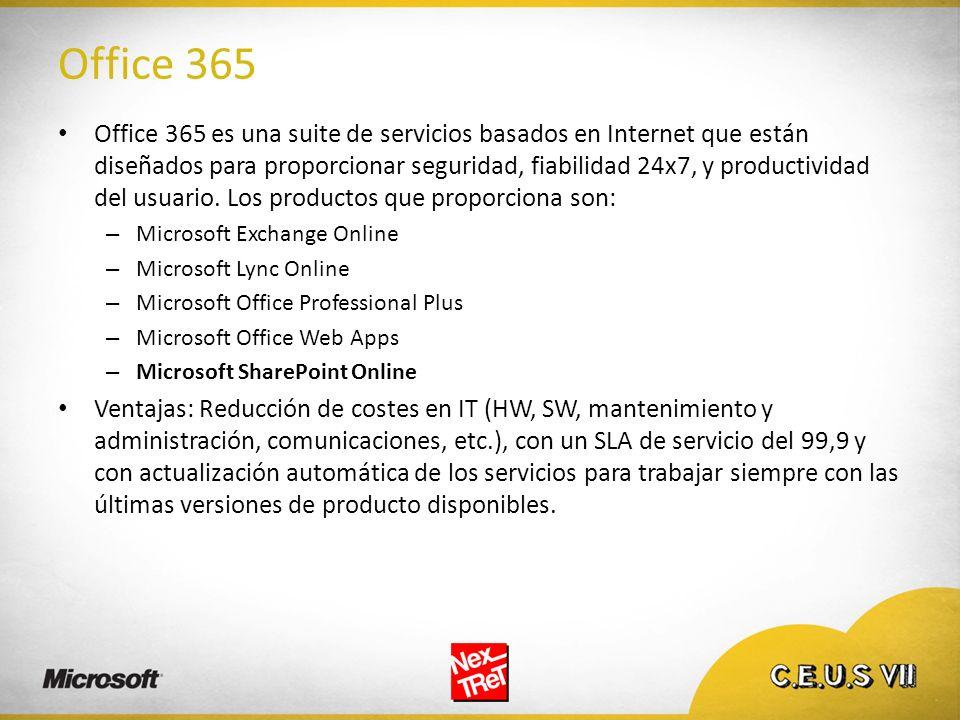 Office 365 Office 365 es una suite de servicios basados en Internet que están diseñados para proporcionar seguridad, fiabilidad 24x7, y productividad