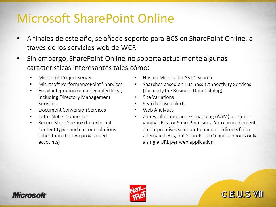 Microsoft SharePoint Online A finales de este año, se añade soporte para BCS en SharePoint Online, a través de los servicios web de WCF. Sin embargo,