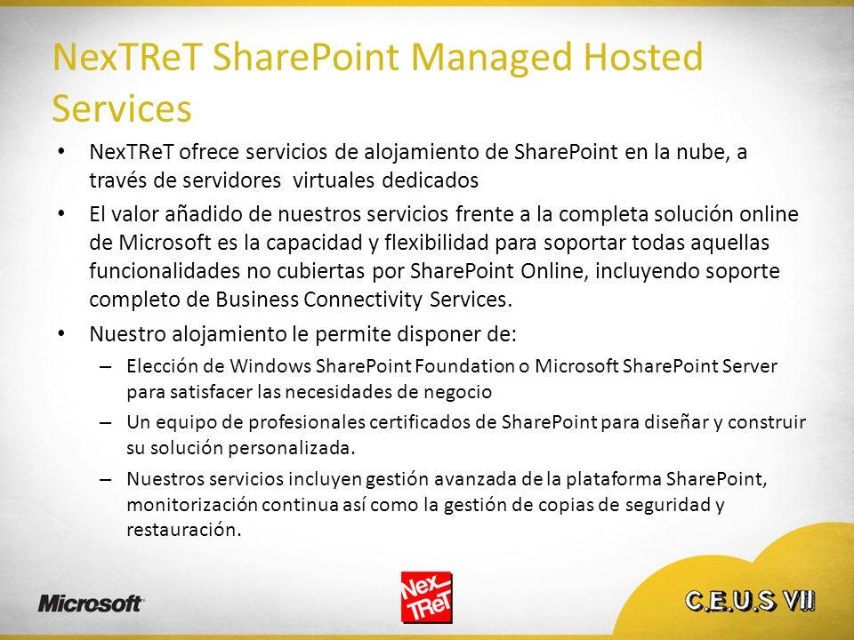 NexTReT SharePoint Managed Hosted Services NexTReT ofrece servicios de alojamiento de SharePoint en la nube, a través de servidores virtuales dedicado