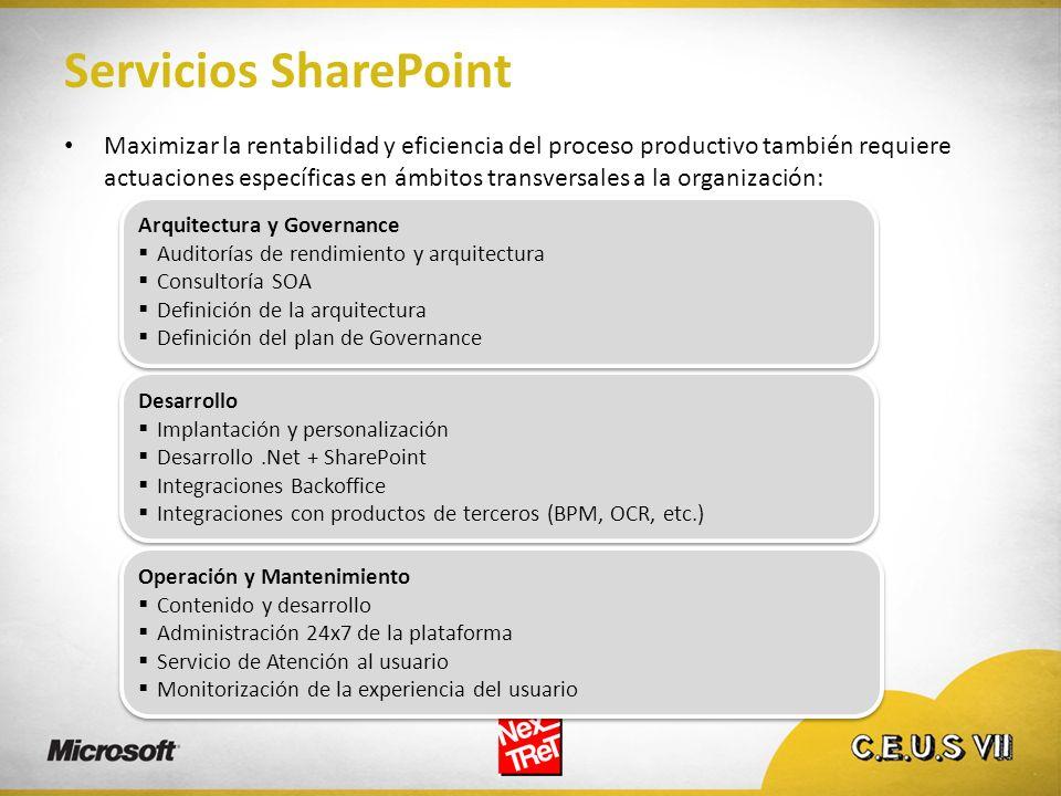 Servicios SharePoint Maximizar la rentabilidad y eficiencia del proceso productivo también requiere actuaciones específicas en ámbitos transversales a