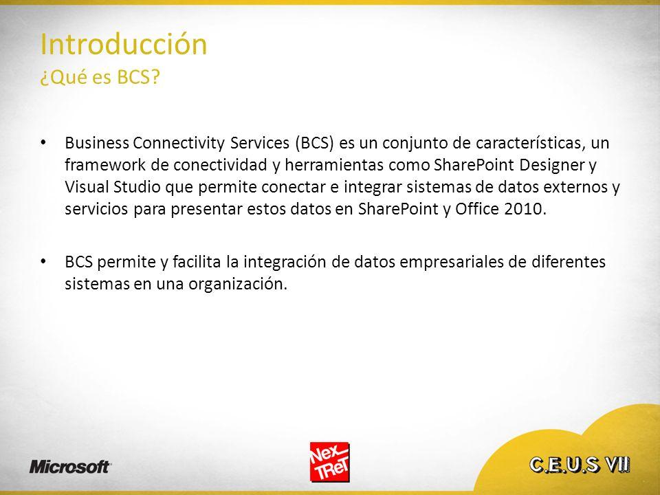 Introducción ¿Qué es BCS? Business Connectivity Services (BCS) es un conjunto de características, un framework de conectividad y herramientas como Sha