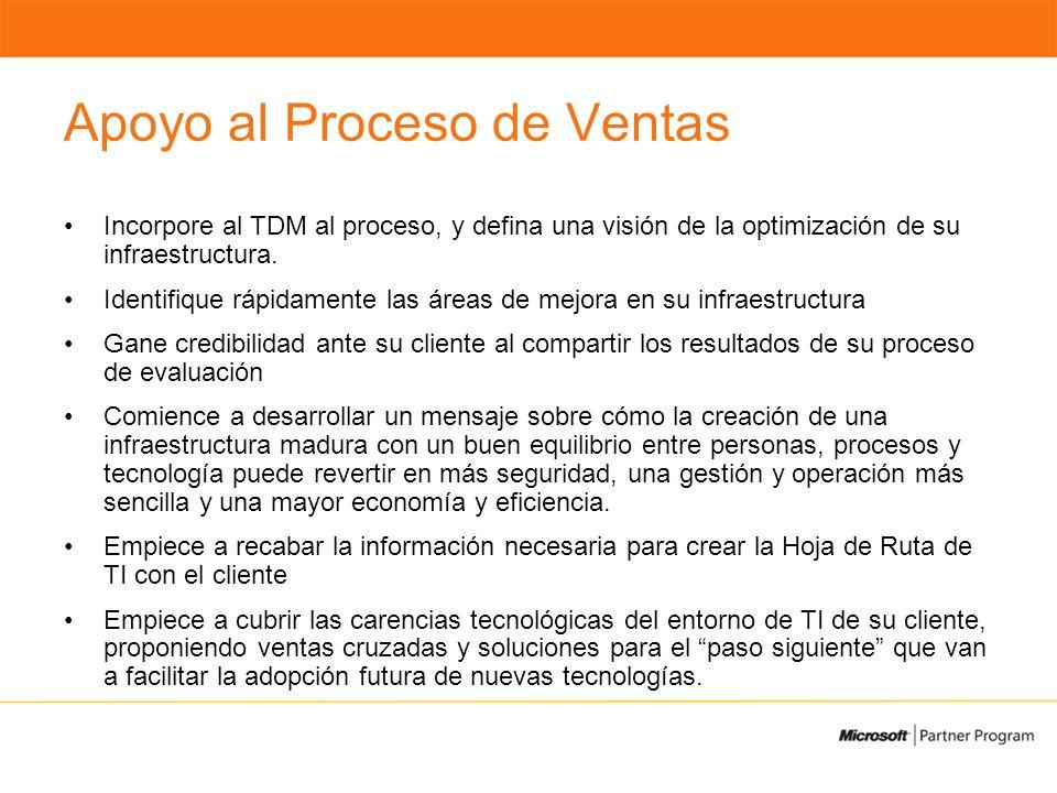 Apoyo al Proceso de Ventas Incorpore al TDM al proceso, y defina una visión de la optimización de su infraestructura.