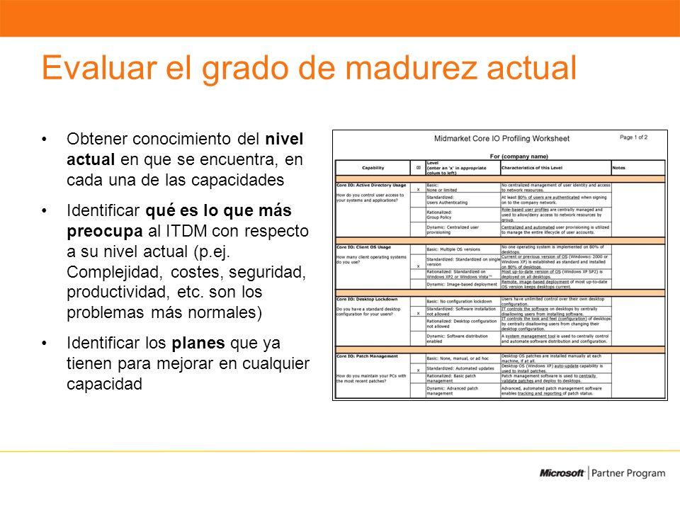 Evaluar el grado de madurez actual Obtener conocimiento del nivel actual en que se encuentra, en cada una de las capacidades Identificar qué es lo que más preocupa al ITDM con respecto a su nivel actual (p.ej.