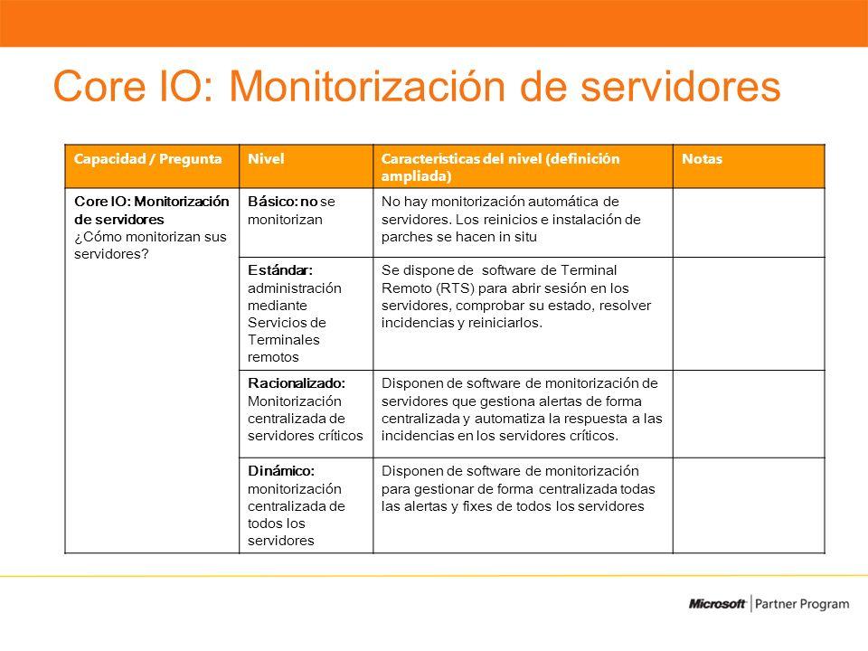 Core IO: Monitorización de servidores Capacidad / PreguntaNivelCaracter í sticas del nivel (definici ó n ampliada) Notas Core IO: Monitorización de servidores ¿Cómo monitorizan sus servidores.