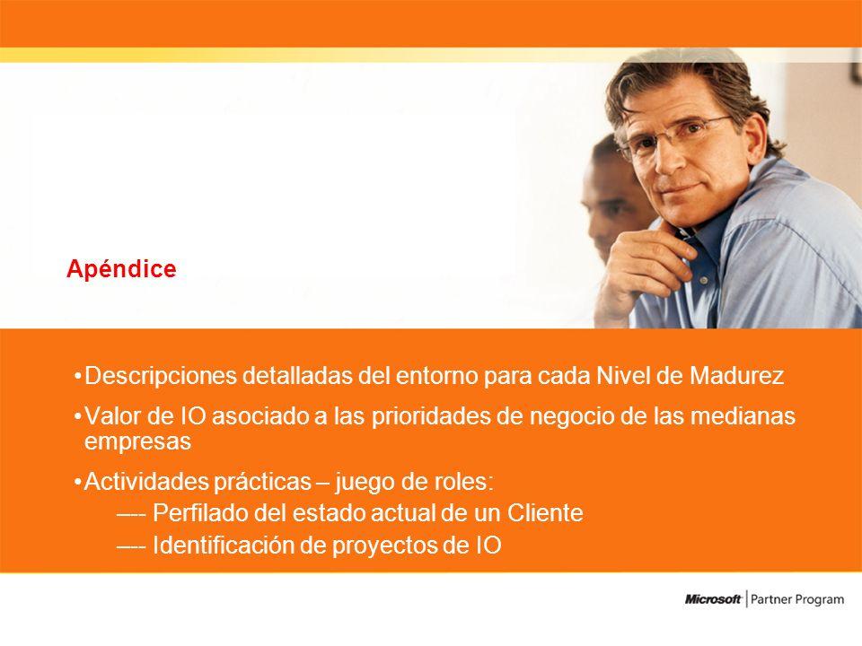 Apéndice Descripciones detalladas del entorno para cada Nivel de Madurez Valor de IO asociado a las prioridades de negocio de las medianas empresas Actividades prácticas – juego de roles: –-- Perfilado del estado actual de un Cliente –-- Identificación de proyectos de IO