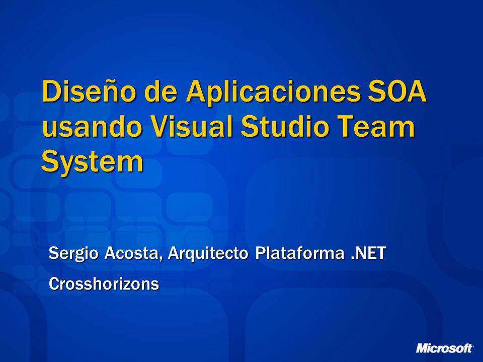 Diseño de Aplicaciones SOA usando Visual Studio Team System Sergio Acosta, Arquitecto Plataforma.NET Crosshorizons