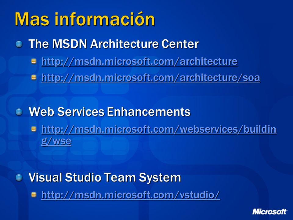 Mas información The MSDN Architecture Center http://msdn.microsoft.com/architecture http://msdn.microsoft.com/architecture/soa Web Services Enhancemen