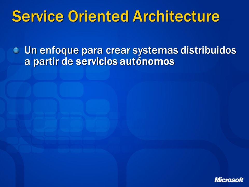 Service Oriented Architecture Un enfoque para crear systemas distribuidos a partir de servicios autónomos