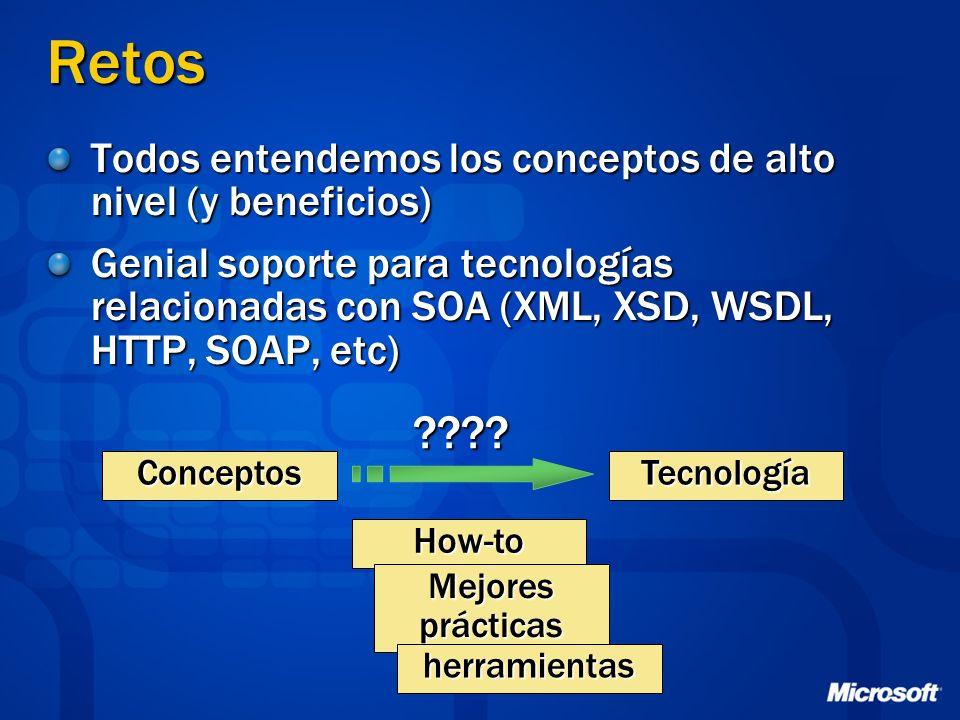 Retos Todos entendemos los conceptos de alto nivel (y beneficios) Genial soporte para tecnologías relacionadas con SOA (XML, XSD, WSDL, HTTP, SOAP, et