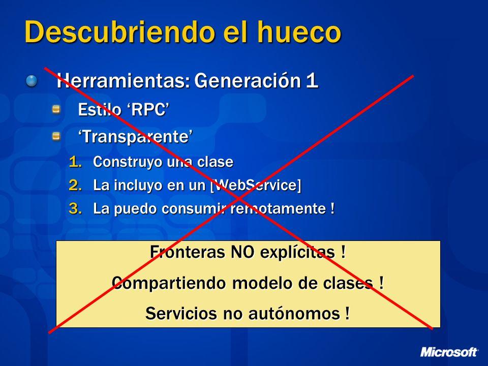Descubriendo el hueco Herramientas: Generación 1 Estilo RPC Transparente 1.Construyo una clase 2.La incluyo en un [WebService] 3.La puedo consumir rem