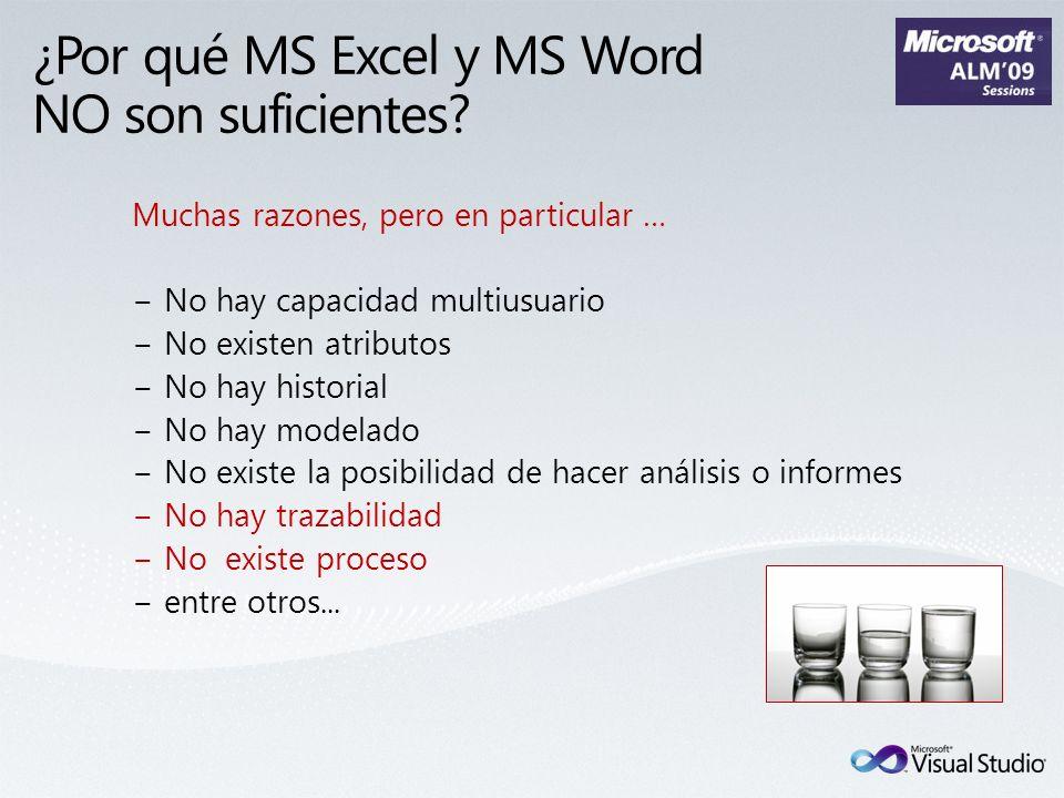 ¿Por qué MS Excel y MS Word NO son suficientes? Muchas razones, pero en particular … No hay capacidad multiusuario No existen atributos No hay histori