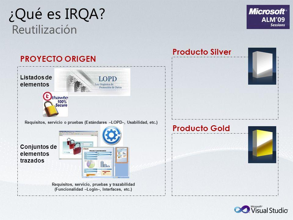 PROYECTO ORIGEN Producto Gold Producto Silver Conjuntos de elementos trazados Listados de elementos Requisitos, servicio o pruebas (Estándares –LOPD–,