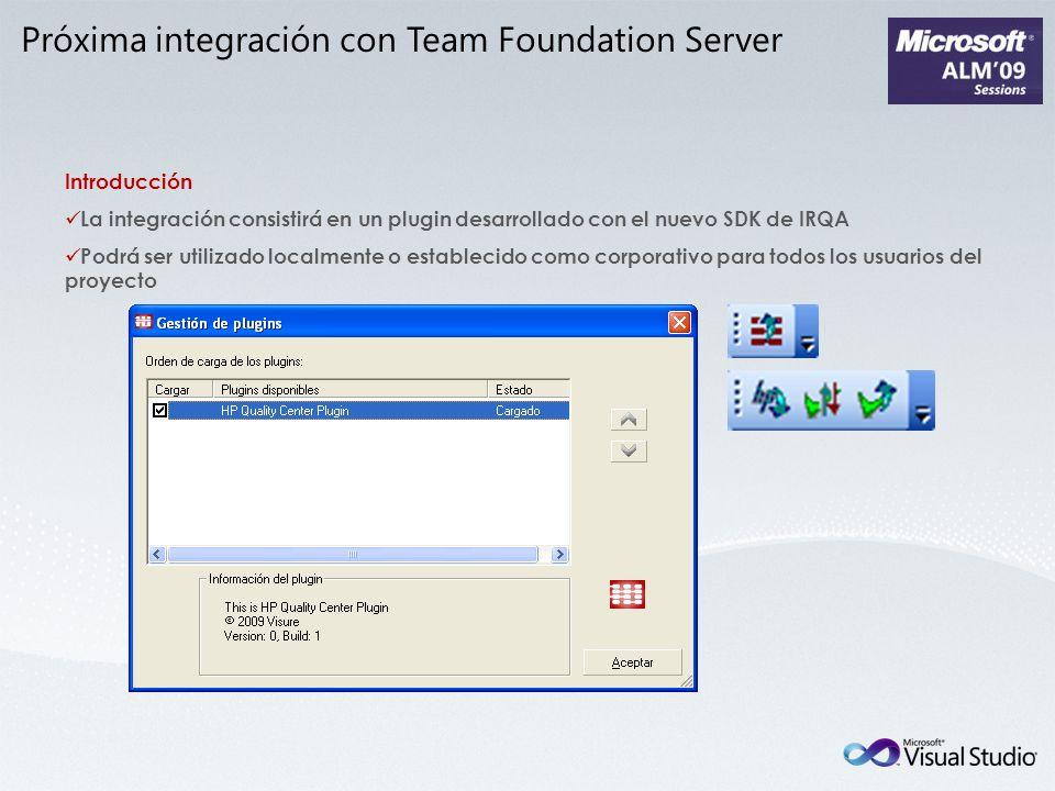 Introducción La integración consistirá en un plugin desarrollado con el nuevo SDK de IRQA Podrá ser utilizado localmente o establecido como corporativ
