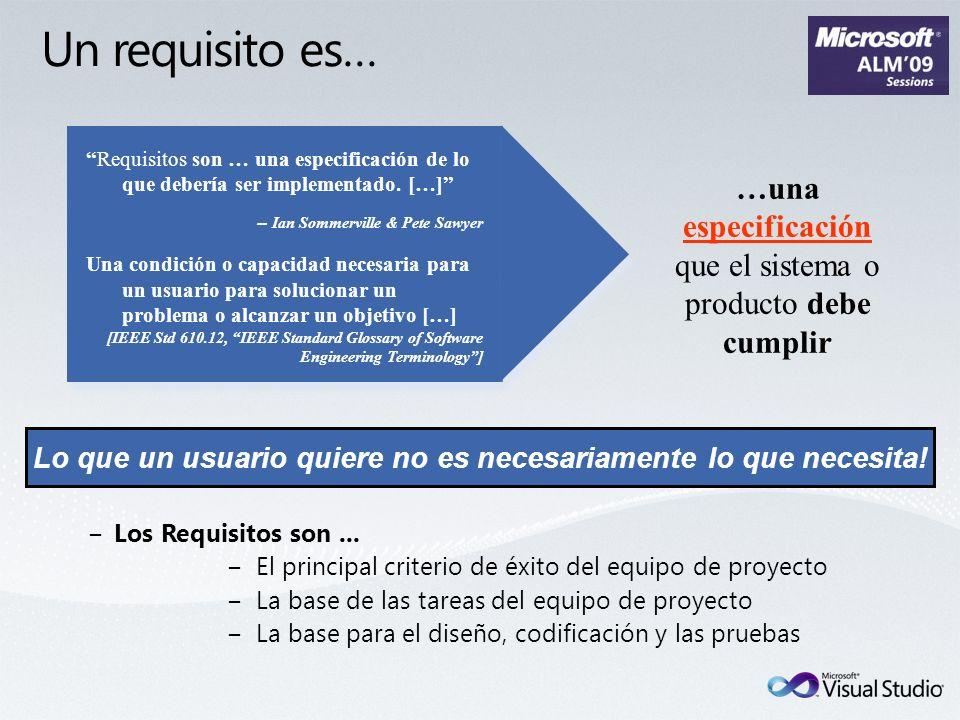 Los Requisitos son... El principal criterio de éxito del equipo de proyecto La base de las tareas del equipo de proyecto La base para el diseño, codif