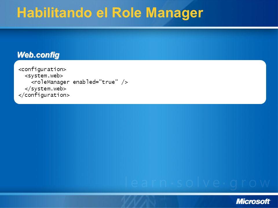 Habilitando el Role Manager Web.config