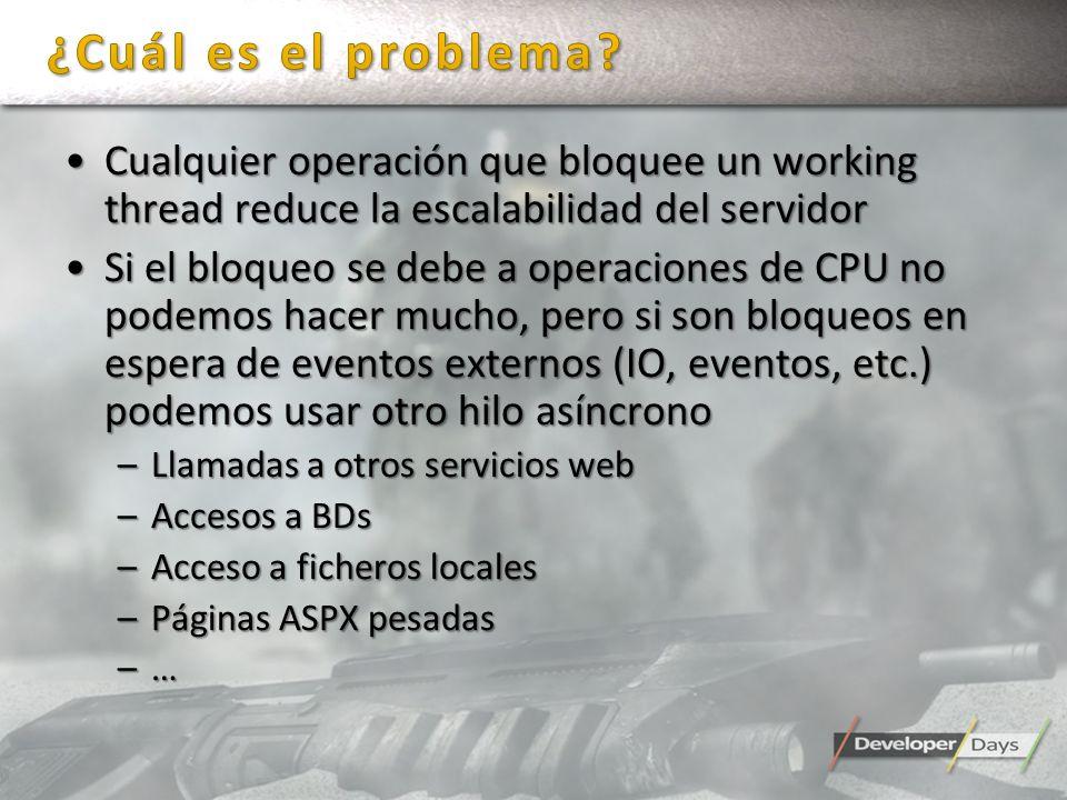 Cualquier operación que bloquee un working thread reduce la escalabilidad del servidorCualquier operación que bloquee un working thread reduce la esca