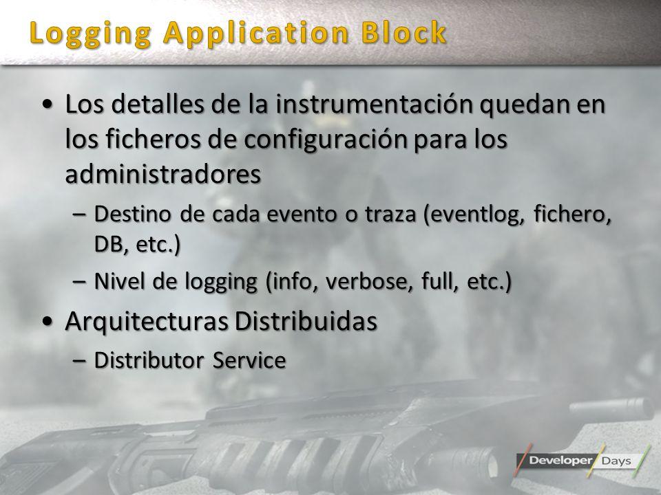 Los detalles de la instrumentación quedan en los ficheros de configuración para los administradoresLos detalles de la instrumentación quedan en los fi