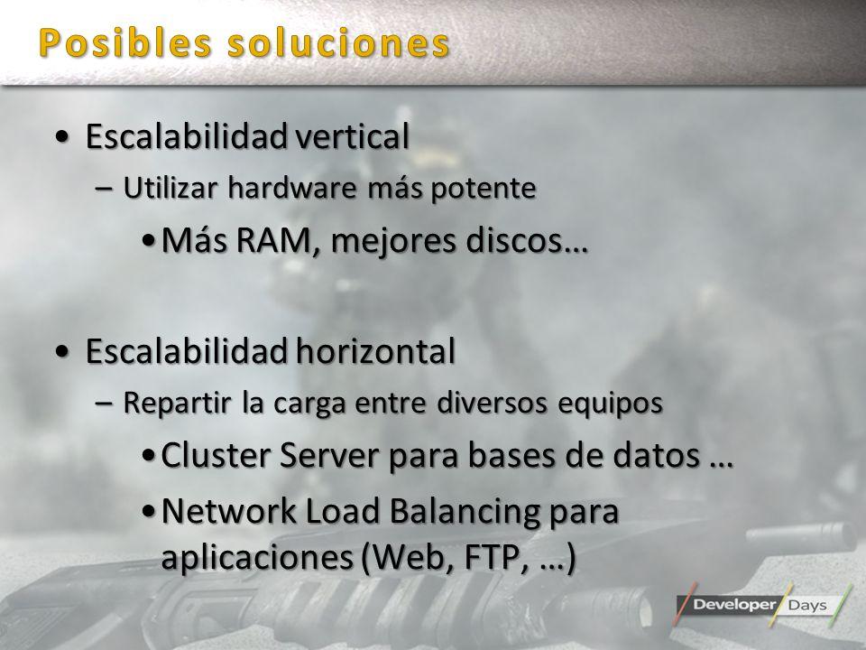 Escalabilidad verticalEscalabilidad vertical –Utilizar hardware más potente Más RAM, mejores discos…Más RAM, mejores discos… Escalabilidad horizontalE