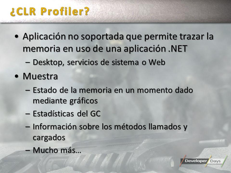 Aplicación no soportada que permite trazar la memoria en uso de una aplicación.NETAplicación no soportada que permite trazar la memoria en uso de una