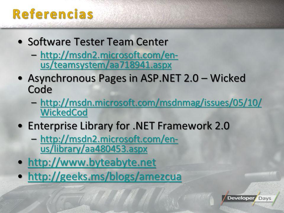 Software Tester Team CenterSoftware Tester Team Center –http://msdn2.microsoft.com/en- us/teamsystem/aa718941.aspx http://msdn2.microsoft.com/en- us/t