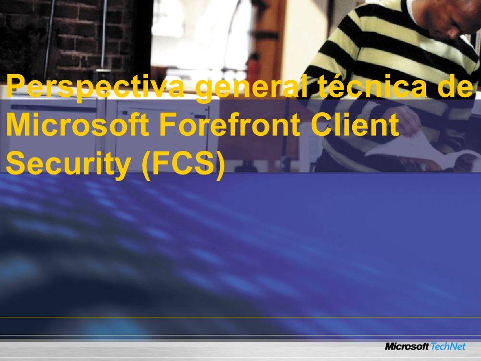 Prerequisitos de FCS SQL Server 2005 SQL Server 2005 Reporting Windows Software Update Services Group Policy Management Console.NET Framework 2.0 MMC 3.0 IIS 6.0 Clientes corriendo Windows 2000, Windows XP, Windows Server 2003, Windows Vista Instalado con FCS Microsoft Operations Manager 2005 SP1 Microsoft Operations Manager Reporting