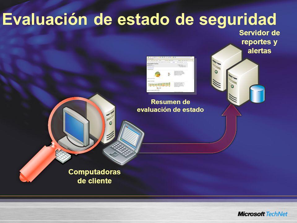 Evaluación de estado de seguridad Servidor de reportes y alertas Resumen de evaluación de estado Computadoras de cliente