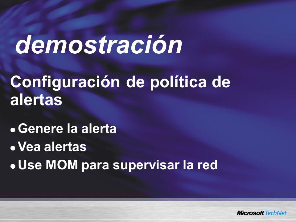 Demo Configuración de política de alertas Genere la alerta Vea alertas Use MOM para supervisar la red demostración