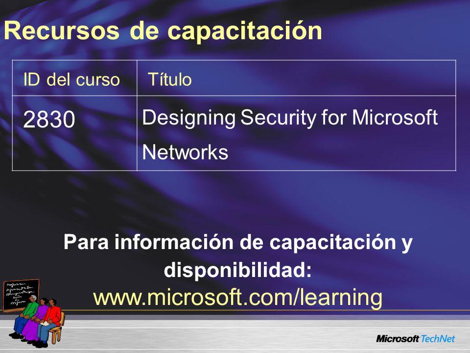 ID del cursoTítulo 2830 Designing Security for Microsoft Networks Para información de capacitación y disponibilidad: www.microsoft.com/learning Recursos de capacitación