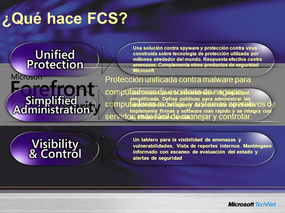 Protección unificada contra malware para computadoras de escritorio de negocio, computadoras móviles, y sistemas operativos de servidor; más fácil de manejar y controlar.