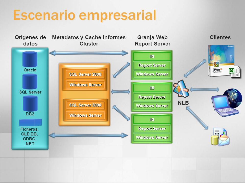 Escenario empresarial Orígenes de datos Ficheros, OLE DB, ODBC,.NET Oracle SQL Server DB2 ClientesGranja Web Report Server Windows Server SQL Server 2