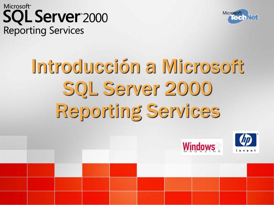 SQL Server Catalog Report Server Interfaz servicio web XML Procesador de informes Distribución Destino de entrega (E-mail, carpetas, propios) Rendering Formatos de salida (HTML, Excel, PDF, propio) Proceso de datos Orígenes de datos (SQL, OLE DB, XML/A, ODBC, Oracle, propio) Seguridad Servicios Seguridad (Sistema, propio) Office Aplicación propia Navegador Arquitectura del producto