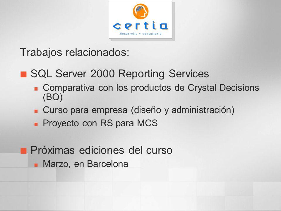 SQL Server Database / SQL Server Agent Componentes compartidos Servicios Web (IIS / ASP.NET) http:// /reportserver Servicio Win32 Componentes de Reporting Services Acceso URL SOAP reportservice.asmx Obtención datos WMI Distribución Seguridad Report Manager http:// /reports Rendering navegador Report Designer Utilidades cliente