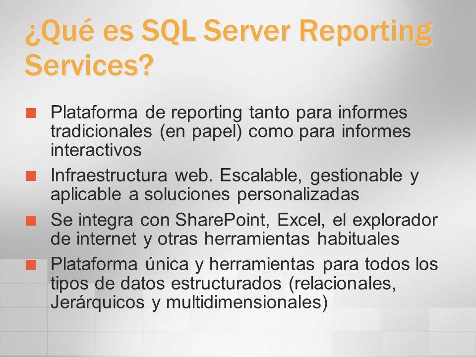 Namespace del servidor Espacio de nombres jerárquico gestionado mediante una base de datos SQL Server Metáfora de carpetas para organizar los informes y establecer la seguridad Tipos de elementos Report Folder Data Source Resource Los elementos se indican por su path tanto en el API SOAP como en el acceso URL (p.e.