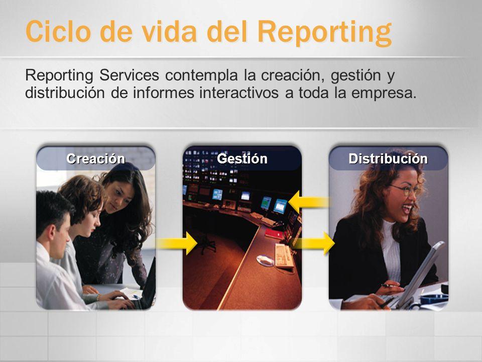Creación de informes Los informes se definen como Report Definition Language (RDL), un esquema XML documentado Con herramientas de Microsoft ó de terceros que generan RDL Crea informes a partir de varias fuentes de datos (SQL, OLE DB, ODBC, Oracle, y proveedores.NET) Especificación RDL Dic.2003: http://www.microsoft.com/sql/reporting/techinfo/rdlspec.asp