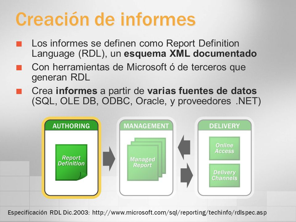 Datos Varios conjuntos de datos a partir de orígenes de datos distintos Orígenes de datos admitidos SQL Server (7.0, 2000, Yukon) Analysis Services (2000 w/XML/A, Yukon) OLE DB, ODBC, Oracle, otros proveedores.NET Constructor de consultas en el Report Designer para SQL Server y OLE DB O escribir las consultas directamente Los parámetros de la consulta se pueden exponer como parámetros del informe