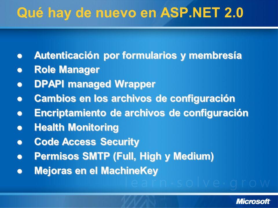 Qué hay de nuevo en ASP.NET 2.0 Autenticación por formularios y membresía Autenticación por formularios y membresía Role Manager Role Manager DPAPI ma