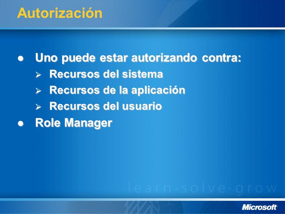 Autorización Uno puede estar autorizando contra: Uno puede estar autorizando contra: Recursos del sistema Recursos del sistema Recursos de la aplicaci