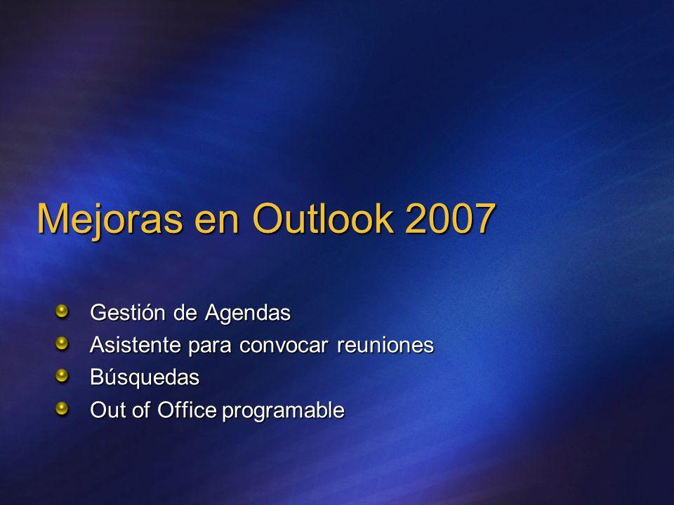 Mejoras en Outlook 2007 Gestión de Agendas Asistente para convocar reuniones Búsquedas Out of Office programable