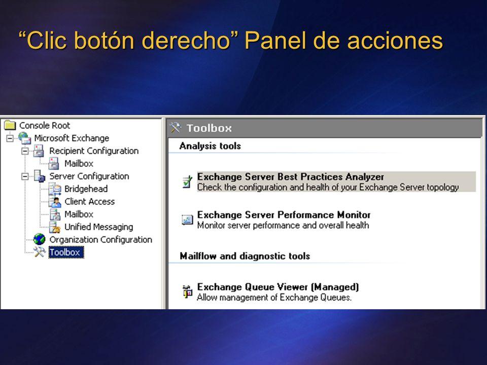 Clic botón derecho Panel de acciones