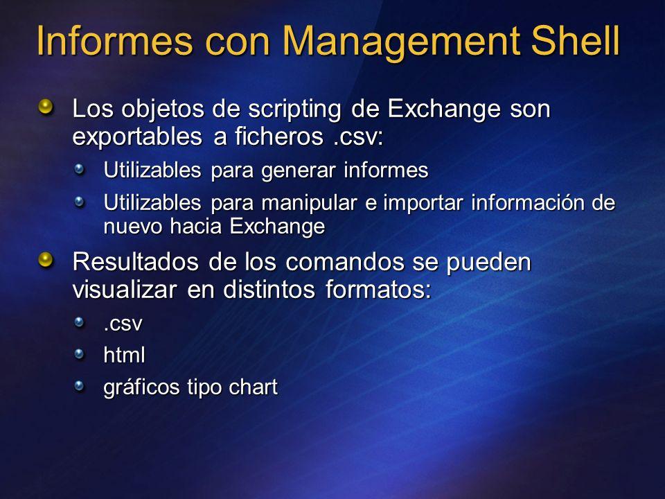 Informes con Management Shell Los objetos de scripting de Exchange son exportables a ficheros.csv: Utilizables para generar informes Utilizables para