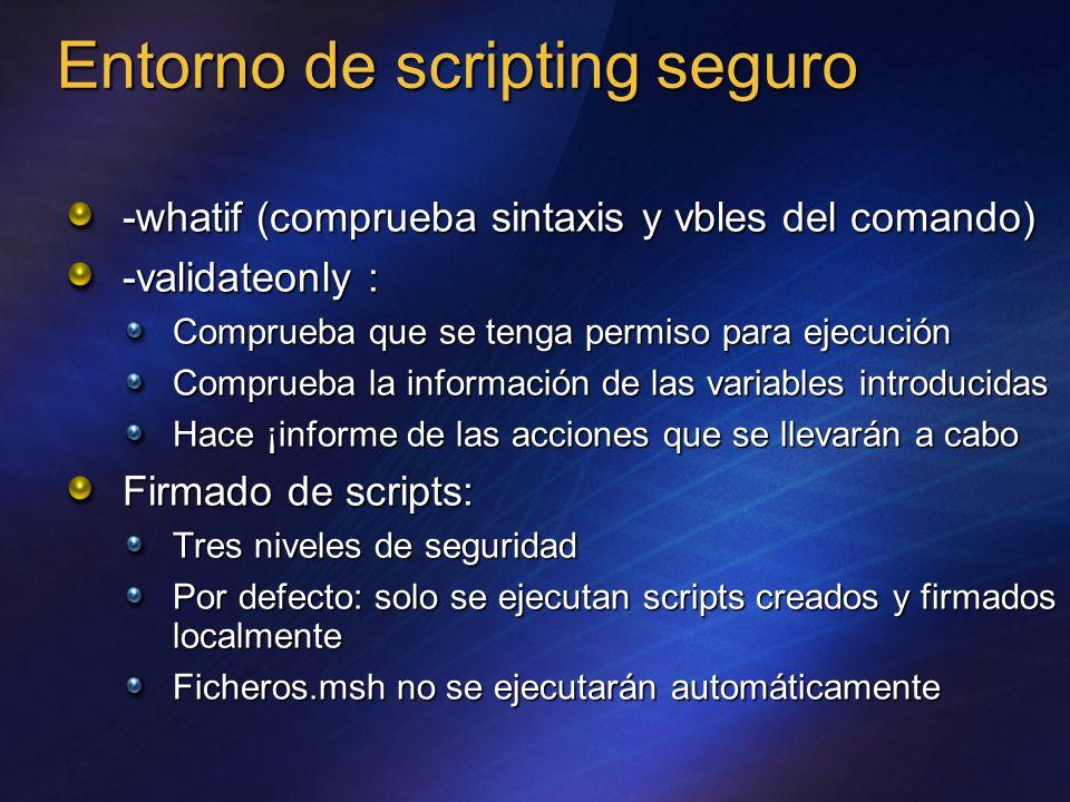 Entorno de scripting seguro -whatif (comprueba sintaxis y vbles del comando) -validateonly : Comprueba que se tenga permiso para ejecución Comprueba l