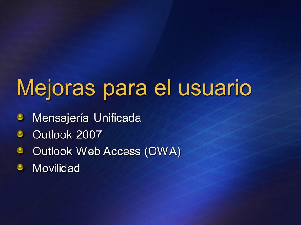 ActiveSync en Exchange 2007 Totalmente compatible con el de Exchange 2003 SP2 y versiones anteriores El usuario aprovecha usa su experiencia en el uso de Outlook para la gestión del correo al dispositivo móvil.
