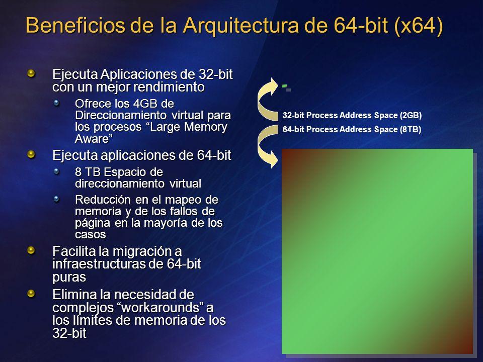 Beneficios de la Arquitectura de 64-bit (x64) Ejecuta Aplicaciones de 32-bit con un mejor rendimiento Ofrece los 4GB de Direccionamiento virtual para